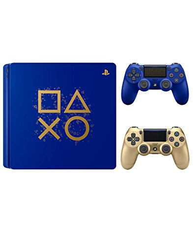 PlayStation 4 Days of Play Limited Edition 1TB Console with Extra Gold Dualshock 4 Wireless Controller Bundle