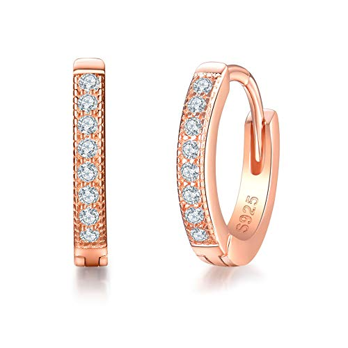 Sterling Silver Rose Clasp - MASOP Sterling Silver 14K Rose Gold Plated Cubic Zirconia Sparkle Huggie Hoop Earrings Stud Cuff Earrings for Women 13mm