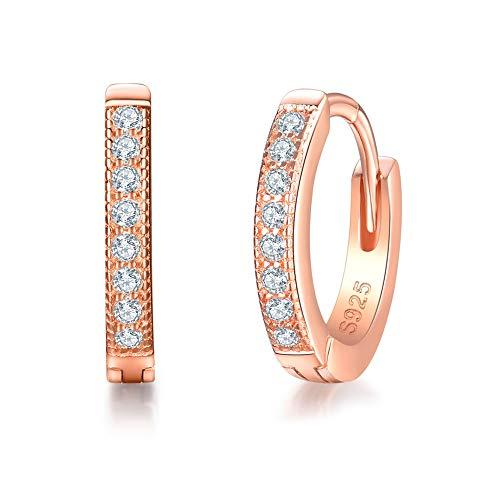 (MASOP Sterling Silver 14K Rose Gold Plated Cubic Zirconia Sparkle Huggie Hoop Earrings Stud Cuff Earrings for Women)