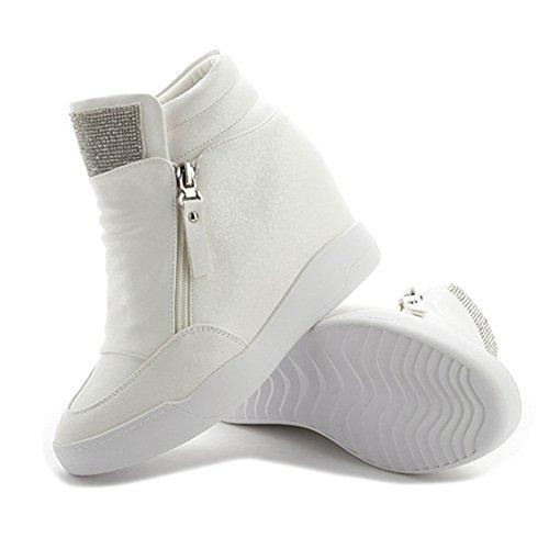 Platform Hidden Heel High Zipper Cz Womens Casual Sneakers Top Wedge Shoes White Sport 0waWH81Za