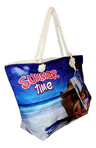 Tropical Print Beach Bag Tote with Pouch (Summer Time With Beach Bag)
