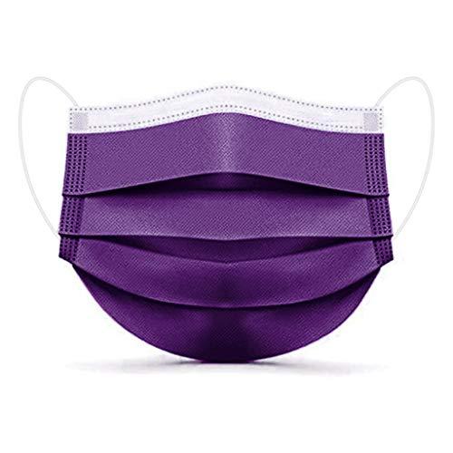 GSusan Masque_Facial_Jetable 50 Pièces ???????????????????????? de Confortable, à Trois Couch????s Protection Recommandé pour Les Hommes et Les Femmes (1#Violet Foncé-50pcs)