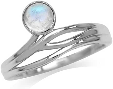 Moonstone 925 Sterling Silver Modern Wavy Ring