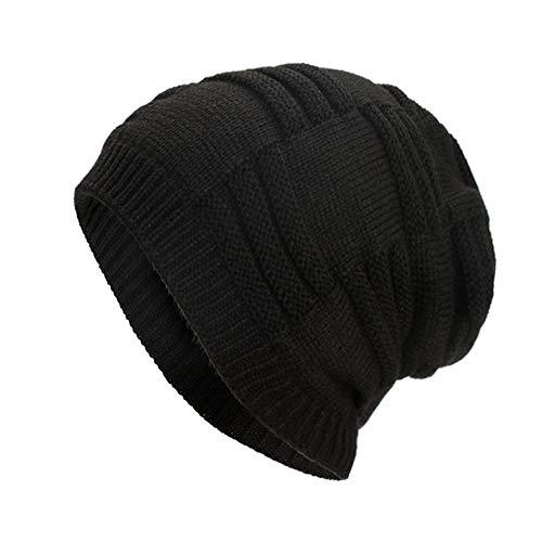 Clearance DEATU Hat Women Men Warm Baggy Weave Crochet Unisex Winter Knit Ski Beanie Skull Caps Hat Hot Sale(a-Black,One Size)