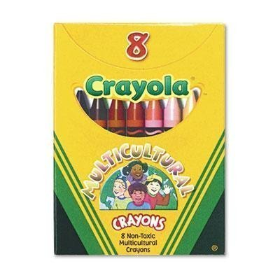 Multicultural Crayons, 8 Skin Tone Colors/Box, 1-Pack of 12 (Skin Color Crayons)