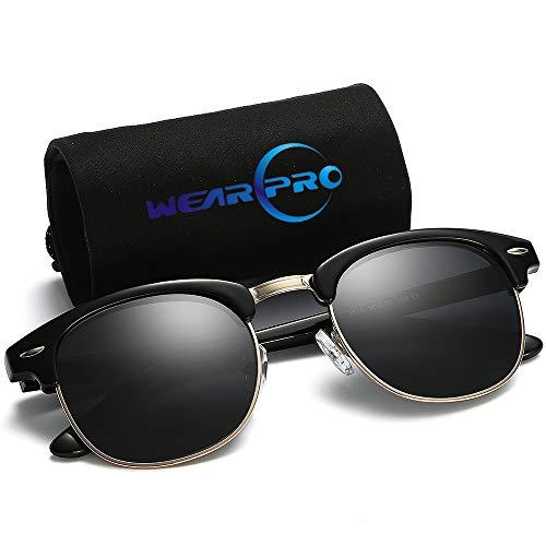 wearpro Clubmaster Sunglasses for Men Women Retro Semi-Rimless Polarized Sun Glasses WP2006(Bright/Black (black2006)