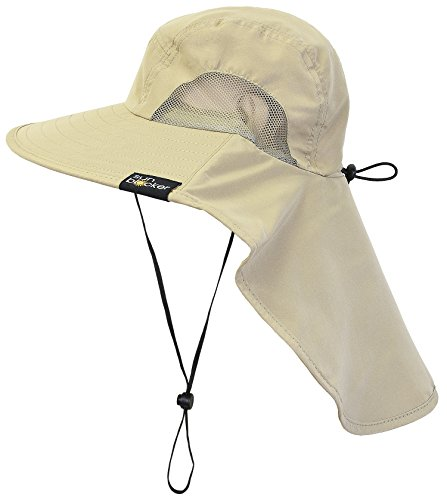 Sun Blocker Outdoor Sun Protection Fishing Cap with Neck Flap, Wide Brim Sun Hat for Travel Camping Hiking Hunting Boating Safari Cap with Adjustable Drawstring, Tan