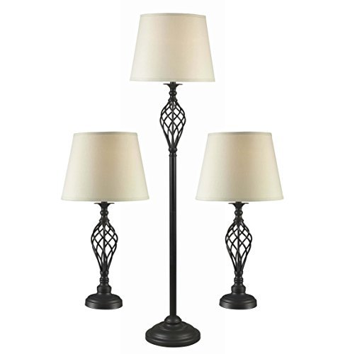 Kenroy Home 32190ORB Avett Lamp Set, 3-Pack 3 Way Iron Torchiere