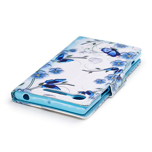 EUWLY Leather Wallet Case for Sony Xperia XZ1,Ultra Thin Colorful Butterfly Flower Tree Animal Embossed Pu Leather Case Cover with Hand Strap for Sony Xperia XZ1 + 1 x Stylus Pen - Dreamcatcher Butterfly