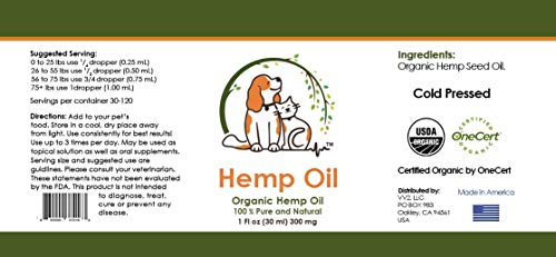 41rnWEiaQnL - Valerio Pet Hemp Oil Dog Cat, Anxiety Relief, Arthritis Pain, Hip, Joint, Separation Anxiety, Stress, Seizures, Anti-Inflammatory, USDA Certified Organic