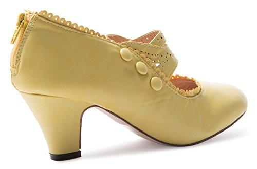 Mary Jane High Closed Heel Yellow 36 Shoes Womens Toe MINA4 IqSwOSp7
