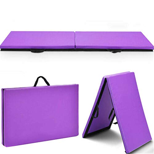 "FMAB 6'x2'x1.5"" Gymnastics Mat Thick Two Folding Panel Gym Fitness Exercise Purple"