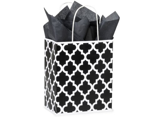 Pack Of 25, Cub 8 x 4.75 x 10.25'' Black Geo Graphics Recycled Paper Shopping Bag w/white paper twist handles Made In USA