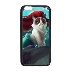 The Little Mermaid Grumpy Cat Ariel Case Custom Durable Hard Cover Case for iPhone 6 Plus - 5.5 inches case - Black Case