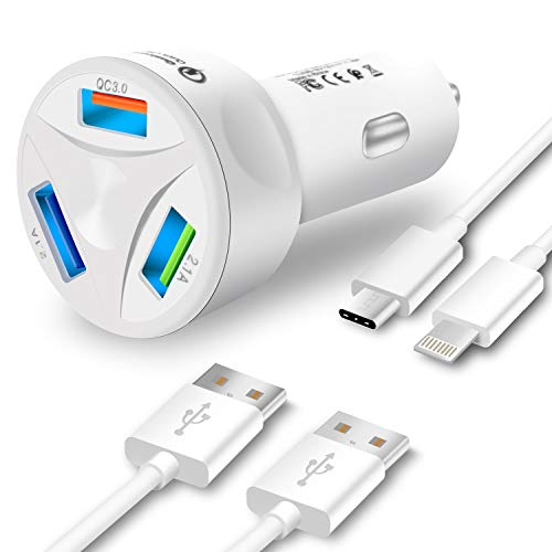 Fast Car Charger, ZOYOL 42W 7A 3-Port Quick Charge 3.0 Fast Car Charger Compatible with Samsung Galaxy S9 S9 Plus S8 S8 Plus S10 S10 Plus Note 8 Note 9, i Phone XS XR X 8 8 Plus 7 7 Plus 6 6s Plus 5s