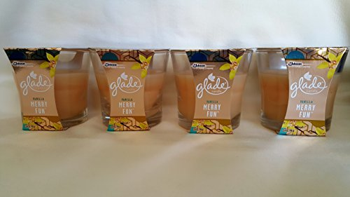 4 Glade Pure Vanilla Merry Fun Glass Jar Candle Oil 3.4 Oz Winter Collection