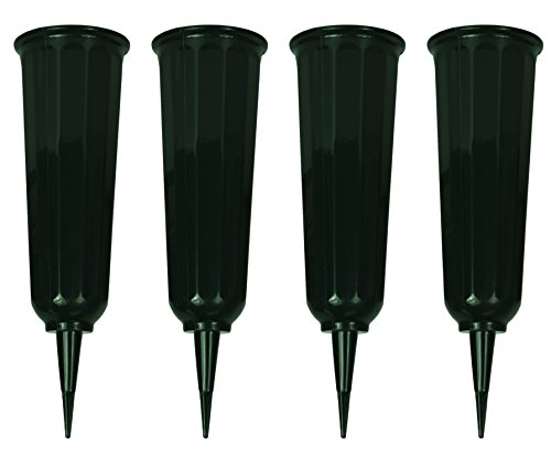 Black Duck Brand Set of 4 Green Cemetery Vases - 9.75x3 Including Stake - Green to Blend with Turf