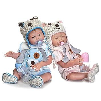 HOOMAI 20pulgadas 50cm muñeca Reborn bebé Niñas y niños Cuerpo Silicona Vinilo Realista Baby Doll Magnetismo Juguetes Ojos Abiertos Toy Boy+Girl