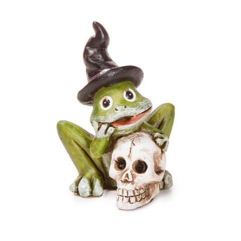 Darice Miniature Halloween Frog Decoration with Skull: 2.25 inches