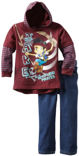 Disney Little Boys' Two Piece Jake and the Neverland Pirates Twofer Pant Set, Wine, 2T