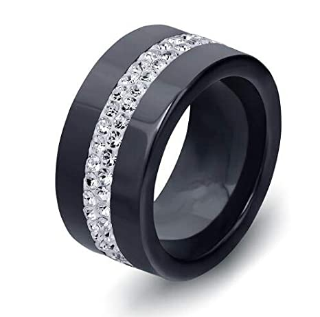 Amazon.com: JEWH Black and White 2 Row Crystal Ceramic Ring for Women - Engagement Promise Wedding Band Gifts for Women - Elegant Luxurous Design (Clear ...