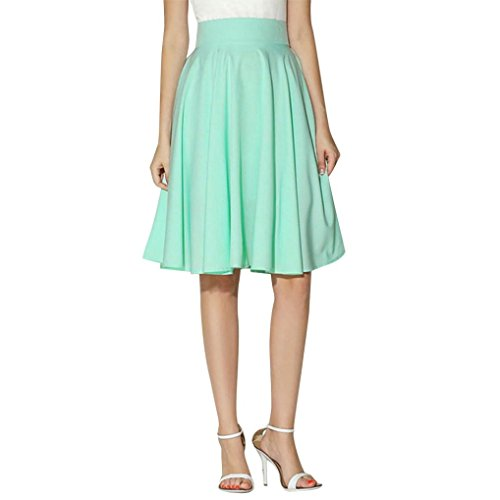 FEITONG Women Flared Retro Knee Length Pleated Stretch Midi Office Work ()