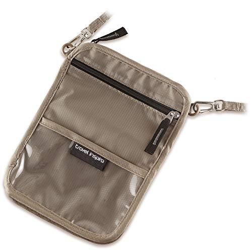 Travel inspira Neck Wallet Passport Holder Foldable Pouch for Travel Carring & Valuables Hiding