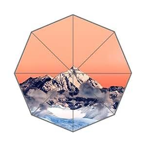 RainbowRain Snow Solo Orange Mountain High Nature Custom Foldable Umbrella 01