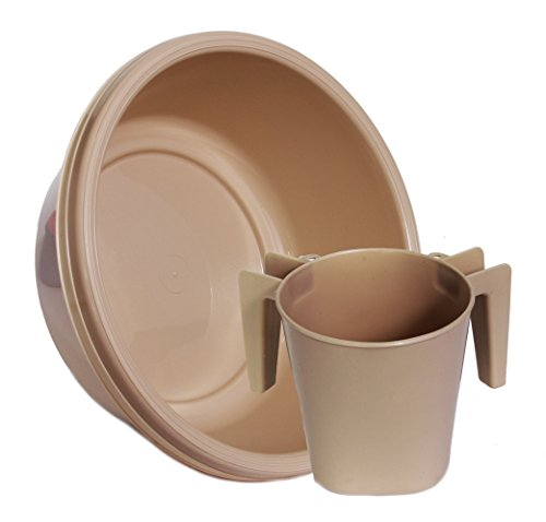 YBM Home Square Wash Cup & Round Wash Basin Netilat Yadayim, Negel Vasser Set Ba154-1148set (1, Beige)