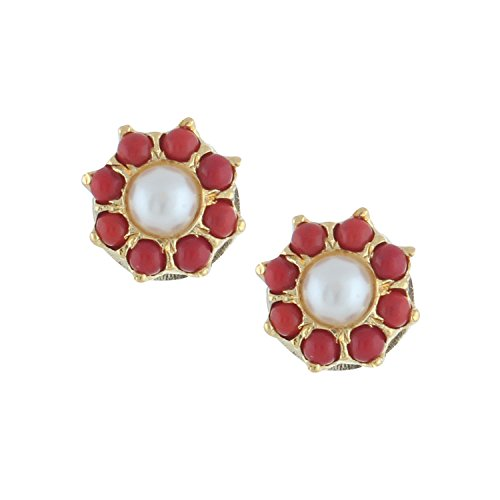 Efulgenz Stud Earrings 14 K Gold Plated Hypoallergenic Cubic Zirconia Round Floral Coral Pearl Studs Pierced for Women Girls (Round Orange Coral Earrings)