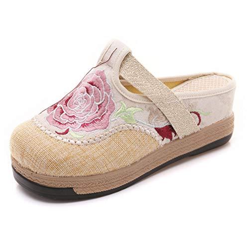 Women Cotton Linen Retro Slippers Ladies Flat Sandals Female Flower Embroidery Canvas Sandals White