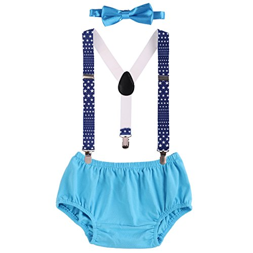 - Child Baby Boys Adjustable Elastic Clip Y Back Suspenders Bowtie Outfit First Birthday Cake Smash Bloomers Clothes set