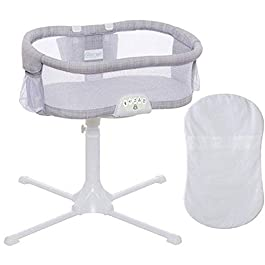 Halo – Swivel Sleeper Bassinet – Luxe PLUS Series – Gray Melange with 100 Cotton White Fitted Sheet