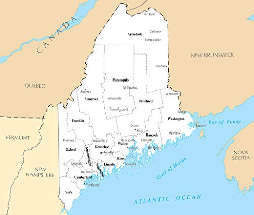 Art Oyster Map of Maine ME - County Map with Selected Cities and Towns - 40