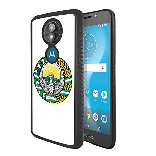 - Soft Rubber Silicone TPU Anti Slip Edge and Hard Bottom Shell Case Compatible with Moto E5 Play / E5 Cruise - Coat of Arms of Uzbekistan