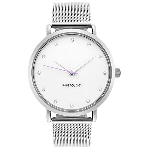 Metal Mesh Strap - WRISTOLOGY Olivia Womens Crystal Silver Boyfriend Watch Metal Mesh Strap