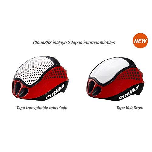 Catlike Cloud 352 Bike Helmet without Visor, Black/Red/White, Medium