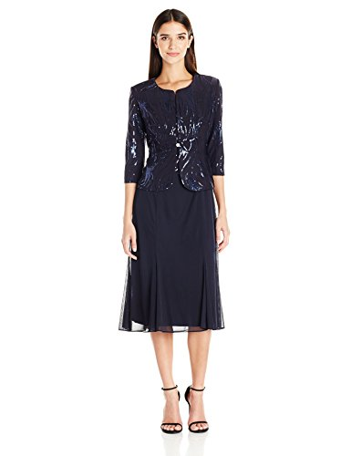 Alex Evenings Women's Tea Length Mock Dress with Sequin Jacket (Petite and Regular Sizes), Navy, 6P
