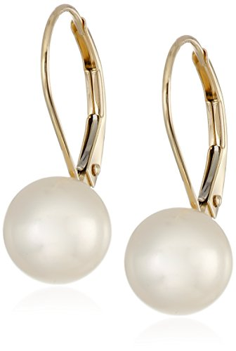 14k Yellow Gold White Freshwater Cultured AA Quality 8mm-9mm Pearl Leverback (Aura Gold Earrings)