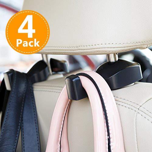 CHITRONIC 4 PCS Universal Car Seat Back Headrest Hanger Hooks Storage for Purse Groceries Bag Handbag