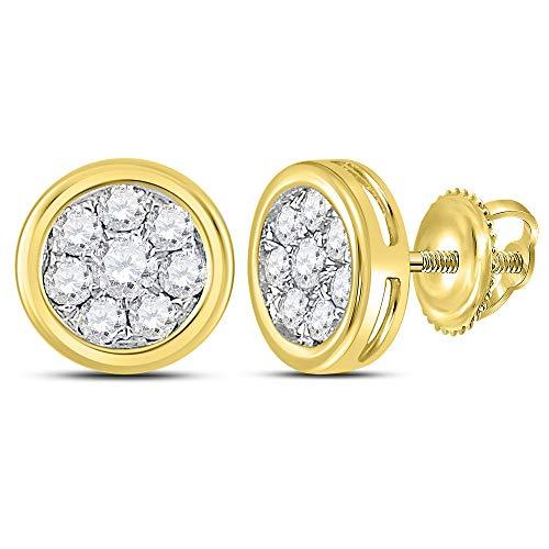 (Diamond Circle Cluster Stud Earrings 1/2ct 14k Yellow Gold)