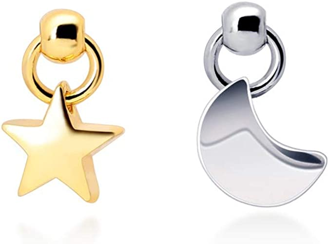 Sterling Silver MOON AND STAR Set Earrings