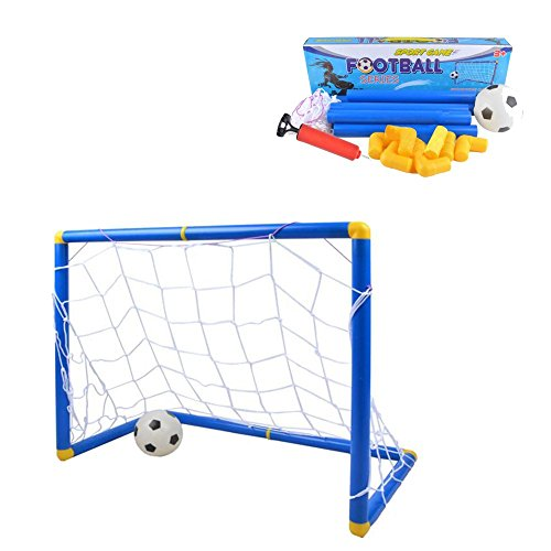 Kidcia Soccer Goals Set with Inflatable Soccer Ball and Air Bump for (Indoor Soccer Goalie)