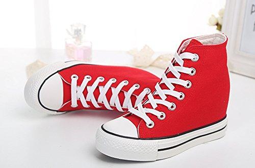 Sneakers Mode Chaussures Lacet Femme Tennis PADGENE Homme Montante Compensées Casuel Toile Baskets g6wnxq5I