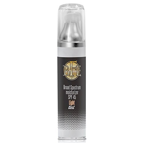 Anti Aging Light Tinted Moisturizer Sunscreen SPF 45- Includes Hyaluronic Acid, Zinc Oxide, & Niacinamide for UVA & UVB Broad Spectrum Sun Protection. Light Sheer Tint Color for Face & Body.