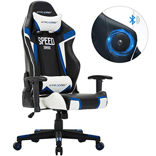 GTRACING Audio Gaming Chair with Bluetooth Speaker 【Patented】 Music Video Game Chair Racing Chair Heavy Duty 400lbs Ergonomic Multi-Function E-Sports Chair for Pro Gamer GT991-M Blue