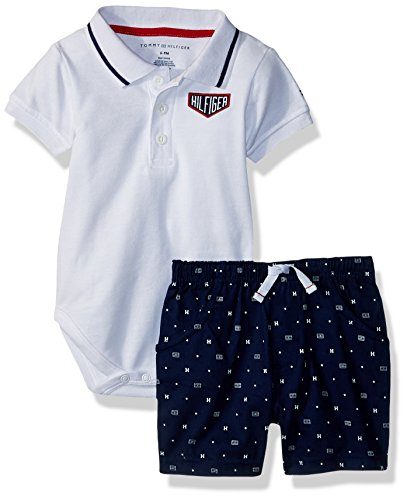 Tommy Hilfiger 2 Piece - Tommy Hilfiger Baby Boys 2 Pieces Creeper Polo Shorts Set, White/Navy, 18M