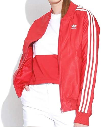 adidas Damen 3-Stripes JKT Sweatshirt, Rot, Größe 38