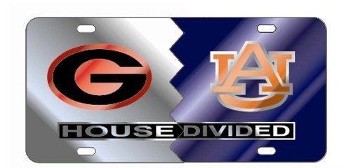 GEORGIA Bulldogs - AUBURN TIGERS Mirrored House Divided License Plate (Tigers Dog Tag)