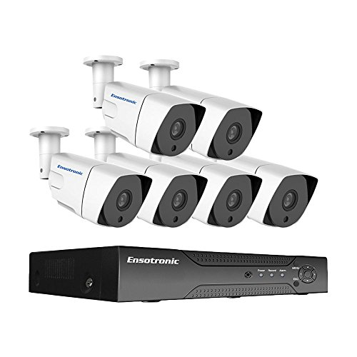 Ensotronic 1080P IP Security Camera System, 8 Channel IP PoE NVR and  1080P 2MP Indoor Outdoor Bullet Camera Video Surveillance Kit, 2TB HDD Pre-